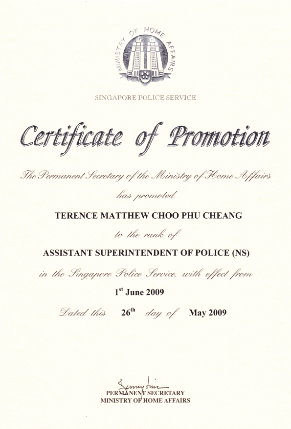Terence choo terence choo for Certificate of promotion template